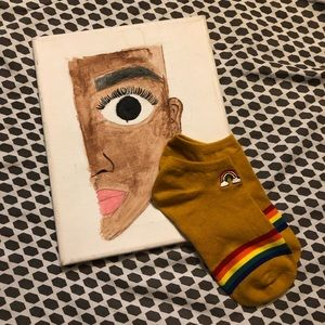 NWOT Rainbow Embroidery Socks in Mustard Yellow